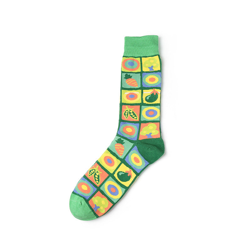 Green polka fruits patterned crew socks for men and women
