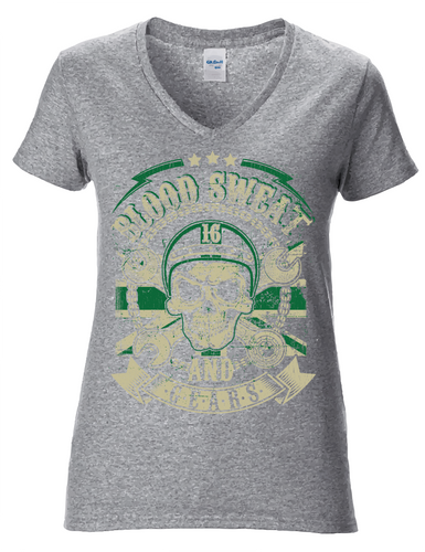 Ladies V-neck Grey Blood Sweat and Gears
