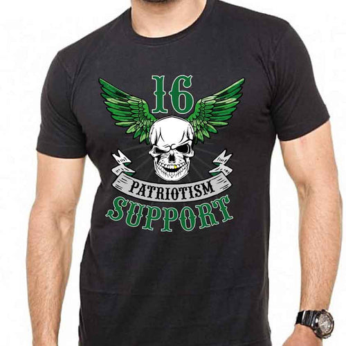 Support 16 Green Wings & Skull Tshirt