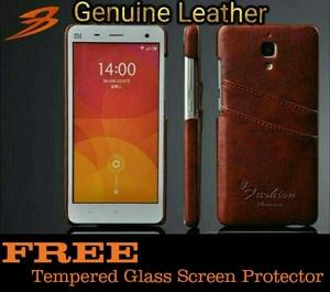 Casing kulit Xiaomi Mi4 Back Leather Case ( Free Tempered dan Gratis Ongkir Se Indonesia )