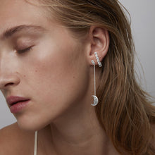 Load image into Gallery viewer, Hanging Moon Earrings • White Zirconia
