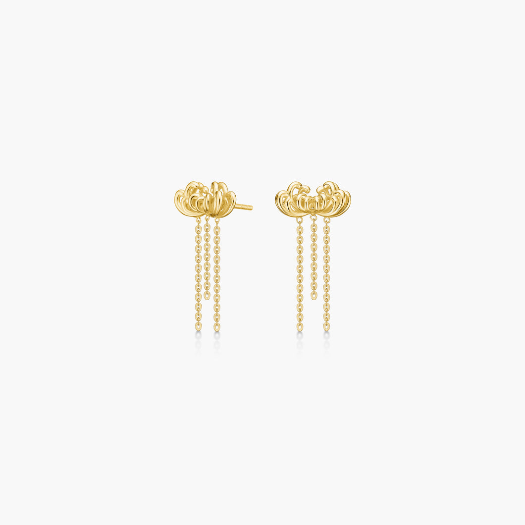 Polar Jewelry Chrysanthemum flower earrings gold shop affordable fine jewelry gift for women jewellery joyful fun colourful scandinavian danish design gold