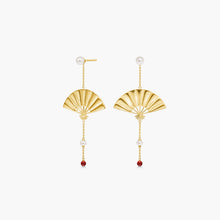 Load image into Gallery viewer, Polar Jewelry Hanging Fan Earrings gold coral shop affordable fine jewelry gift for women jewellery joyful fun colourful scandinavian danish design