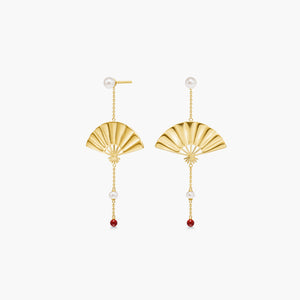 Polar Jewelry Hanging Fan Earrings gold coral shop affordable fine jewelry gift for women jewellery joyful fun colourful scandinavian danish design