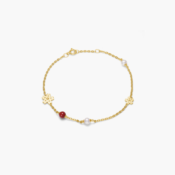 polar jewelry sakura cherry blossom flower pearl coral bracelet gold Polar Jewelry shop affordable fine jewelry gift for women jewellery joyful fun colourful scandinavian danish design shop now free delivery