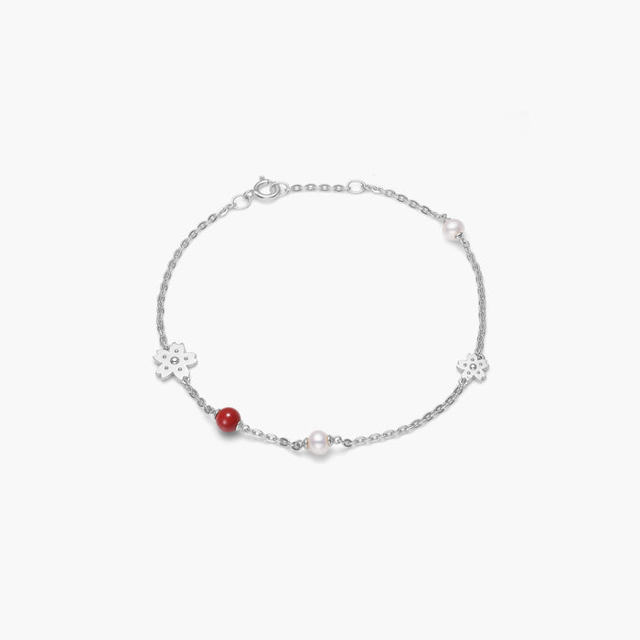 polar jewelry sakura cherry blossom flower pearl coral bracelet silver Polar Jewelry shop affordable fine jewelry gift for women jewellery joyful fun colourful scandinavian danish design shop now free delivery
