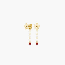 Load image into Gallery viewer, polar jewelry sakura backdrop cherry blossom flower earrings coral gold Polar Jewelry shop affordable fine jewelry gift for women jewellery joyful fun colourful scandinavian danish design shop now free delivery