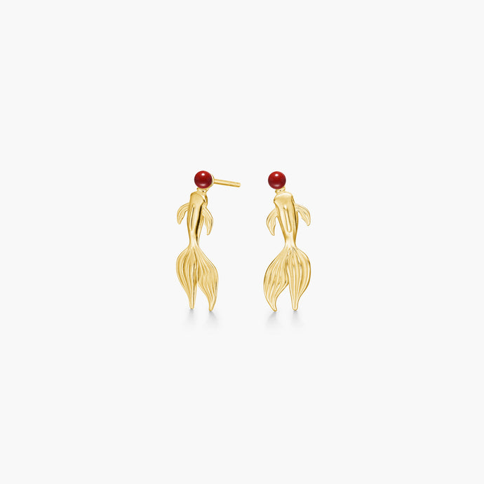 polar jewelry koi carp fish earrings gold coral gift jewellery Polar Jewelry shop affordable fine jewelry gift for women jewellery joyful fun colourful scandinavian danish design shop now free delivery