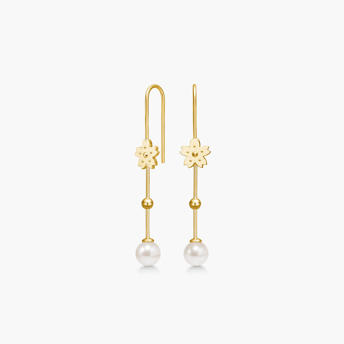 Polar Jewelry Sakura cherry blossom flower Hanging Peal earring Polar Jewelry shop affordable fine jewelry gift for women jewellery joyful fun colourful scandinavian danish design shop now free delivery