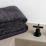 Set of 2 bath towels jet grey