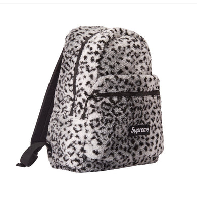 Supreme - Leopard Fleece Backpack (FW17) - White - KICKS 'N' STEEZ