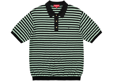 Supreme - Striped Knit Polo (SS18) - Light Sage - Medium - KICKS 'N' STEEZ