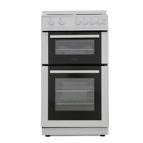 Belling FS50GTCL 50cm Gas Twin Cavity Cooker with Gas Hob and Glass Lid - White - A Rated - Appliance Village
