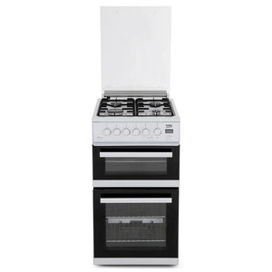 Beko EDG506W 50cm Twin Cavity Gas Cooker with Glass Lid - Appliance Village