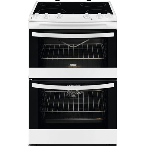 Zanussi ZCV66078WA 60cm Electric Double Oven Cooker with Ceramic Hob - Appliance Village