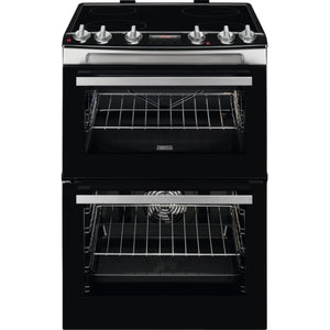 Zanussi ZCV66078XA 60cm Electric Double Oven Cooker with Ceramic Hob - Appliance Village