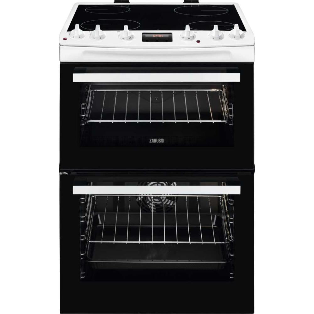 Zanussi ZCV66370WA 60cm Electric Double Oven Cooker with Ceramic Hob - Appliance Village