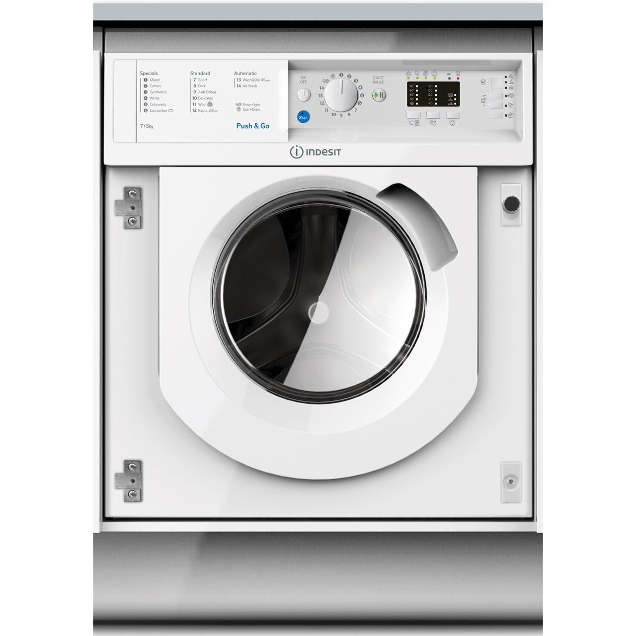 Indesit BIWDIL7125 Integrated 1200 Spin 7kg/5kg Dry Washer Dryer - Appliance Village