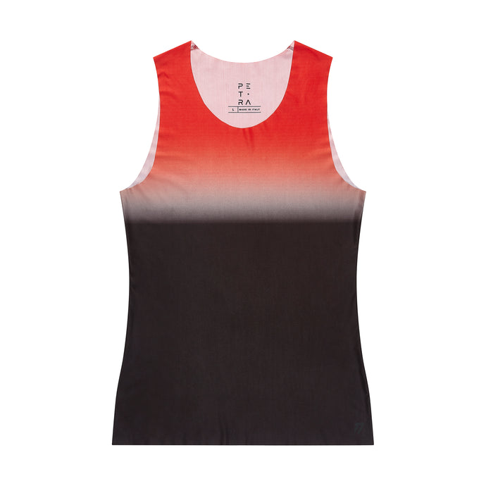 Men's fitted technical tank top red front view