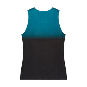Men's fitted technical tank top dark cyan back view