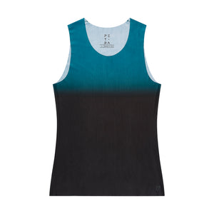 Men's fitted technical tank top dark cyan front view