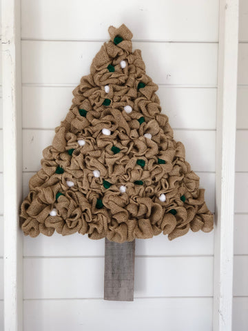 burlap tree with pom poms
