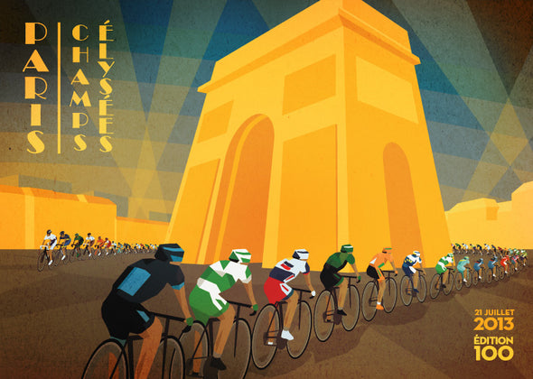 champs elysees cycling print