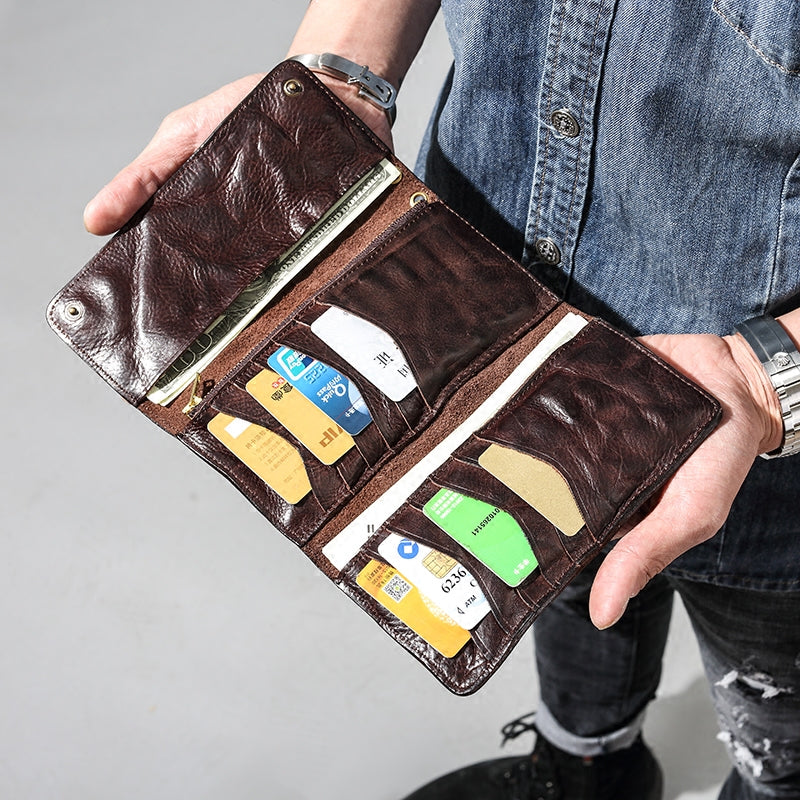 Men Leather Trifold long wallet