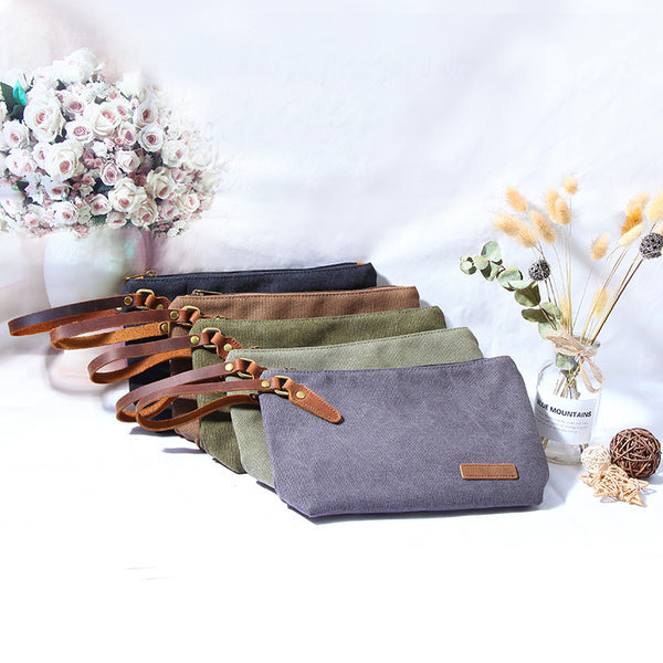 Canvas Leather Mens Small Black Storage Bag Green Clutch Bag Brown Envelope Bag for Men