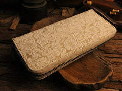 Handmade Leather Floral Floral Mens Cool Zipper Phone Travel Long Wallet Card Holder Card Slim Clutch Wallets for Men