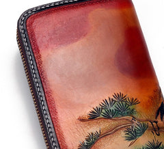Handmade Leather Mens Clutch Wallet Cool Red-Crowned Crane Tooled Wallet Long Zipper Wallets for Men