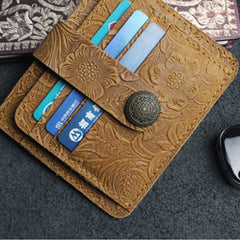 Handmade Leather Floral Mens Cool Front Pocket Wallet billfold Wallet Card Holder Small Card Slim Wallets for Men