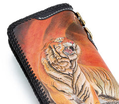 Handmade Leather Tooled Chinese Dragon Tiger Mens Chain Biker Wallet Cool Leather Wallet Long Clutch Wallets for Men