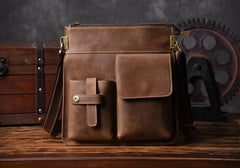 Cool Leather Mens Shoulder Bag Messenger Bag Chest Bag for men