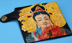 Handmade Leather Quan yin Buddha Mens Chain Biker Wallet Cool Leather Wallet With Chain Wallets for Men