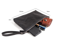 Genuine Leather Mens Cool Long Leather ipad bag Wrist Bifold Clutch Wallet for Men