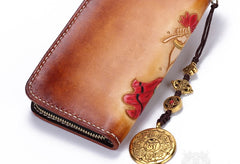 Handmade Leather Ganesha Mens Chain Biker Wallet Cool Leather Wallet With Chain Wallets for Men