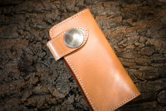 Handmade Leather Mens Cool Beige Chain Wallet Biker Trucker Wallet with Chain
