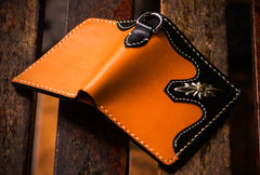 Handmade Leather Trucker Bag Mens billfold Wallet Cool Chain Wallet Biker Wallet for Men
