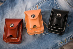 Handmade Leather Mens Leather Cigarette Case Cigarette Box Lighter Pocket Tobacco Pouch