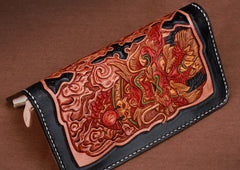 Handmade Leather Mens Clutch Wallet Cool Kylin Tooled Wallet Long Zipper Wallets for Men