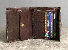 Handmade Leather Mens Cool Short Leather Wallet Men Small Wallets Trifold for Men