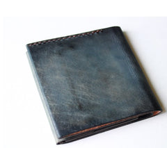 Handmade Vintage Leather Mens Small Bifold Wallet Cool Short Wallet for Men