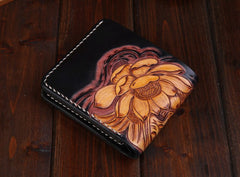Handmade Leather Carp Mens billfold Wallet Cool Leather Wallet Slim Wallet for Men