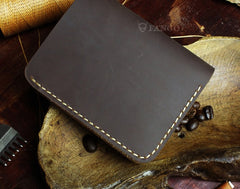 Handmade Leather Mens Cool Slim Leather Wallet Men billfold Wallets Bifold for Men