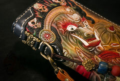 Handmade Leather Tooled Mahākāla Mens Chain Biker Wallet Cool Leather Wallet Long Clutch Wallets for Men