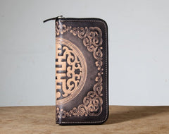 Handmade Genuine Leather Mens Cool Tooled Long Leather Wallet Bifold Clutch Wallet for Men