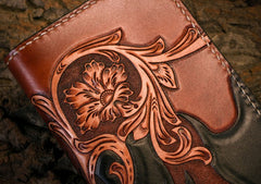 Handmade Leather Mens Clutch Wallet Tooled Cool Zhong Kui Wallet Long Zipper Wallets for Men