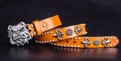 Handmade Genuine Leather Punk Rock Bulldog Mens Cool Men Biker Trucker Leather Belt