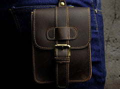Small Leather Belt Pouch Mens Holsters Belt Cases Cell Phone Waist Pouch for Men